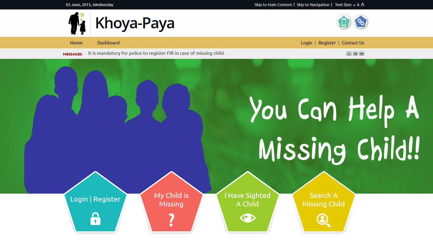 India launches khoya paya Lost and Found  website to find missing children